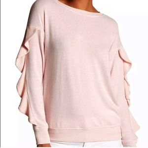 Harlowe & Graham Pink Ruffle Fleece Knit Sweater